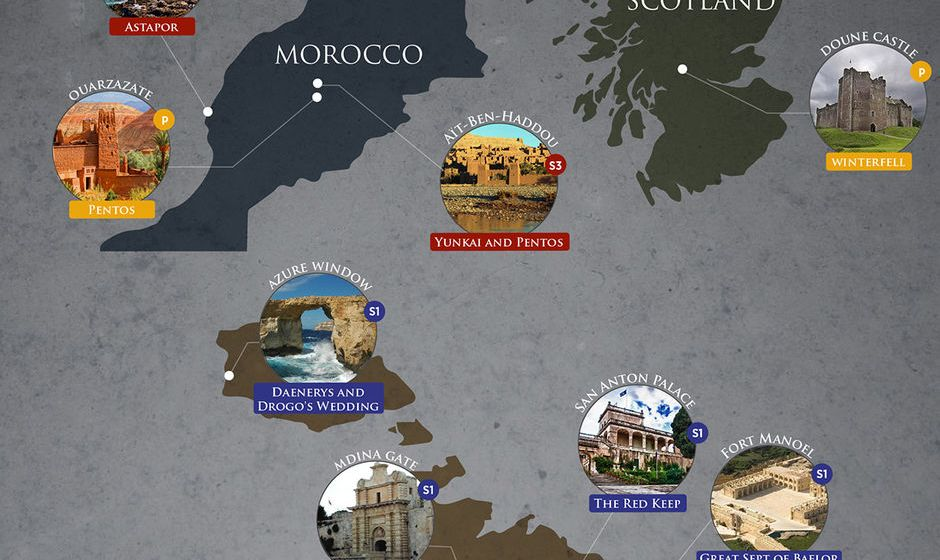 Map of all real-world locations for the Game of Thrones