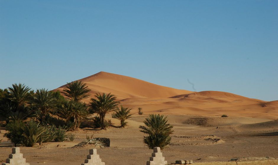 dunes at Merzouga near Erfoud in Morocco