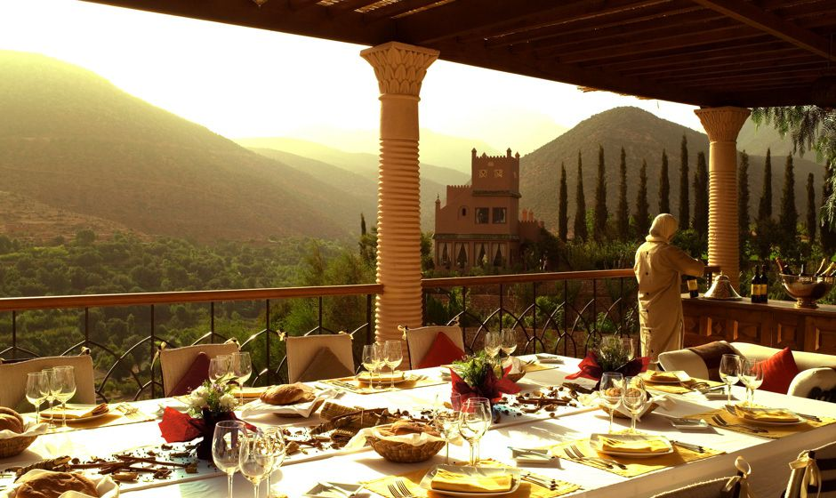 Kasbah Tamadot owned by Richard Branson is a luxury Atlas Mountain hotel near Ma