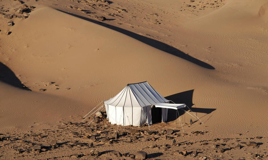 Caidal tent holiday in the Sahara desert dunes