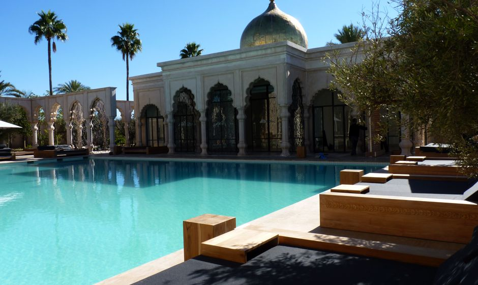 Main swimming pool palais namaskar luxury hotel marrakech palmeraie morocco