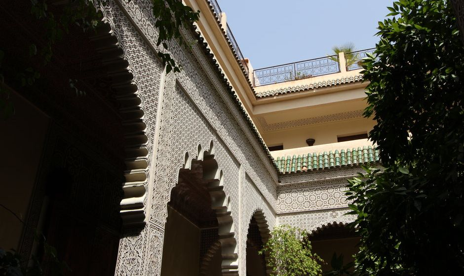 Courtyard view of a riad in Morocco