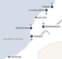 Holiday destinations on the coast of Morocco